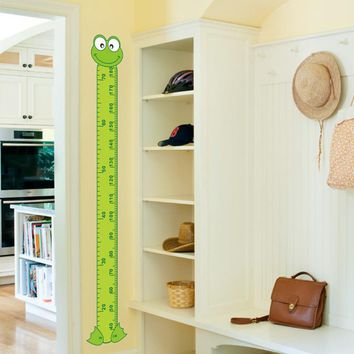 cute interesting cartoon Frog Green baby children height measure wall stickers kids room decoration child play room growth chart