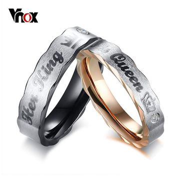 Cool Vnox Crown His Queen Her King Wedding Rings for Women Men Stainless Steel CZ Stone Couple Band Lovers Elegant Jewelry GiftAT_93_12