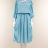 Vintage Cornflower Blue Pattern Dress Elastic Waist Knife Pleate Skirt Peter Pan Collar with Tie Semi Sheer 3/4 Sleeve