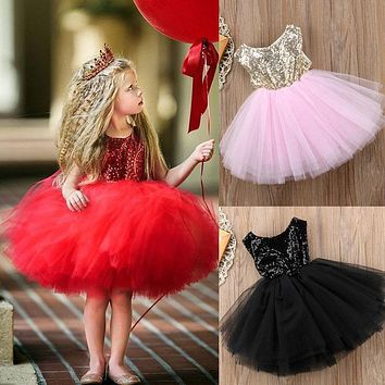 Sequins Kids Baby Flower Girl Dress Tutu Party Dress Backless Bridesmaid Dresses