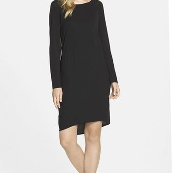 Petite Women's Eileen Fisher Ballet Neck Silk Dress