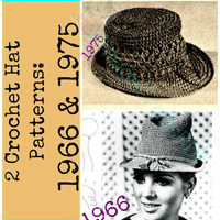 2 Hat Crochet Patterns 1975 and 1966 Lady's Brimmed Hat and Crocheted Hat| Bohomian Clothing Boho Chic-Accessories-Vintage Crafts PDF USA