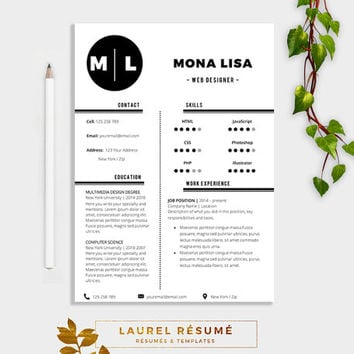 Elegant Résumé Template. 2 Pages Resume + Cover Letter + 1 page References + CV + doc template + curriculum vitae
