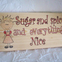 Childs room decor,nursery decor,bedroom wall decor, kids room sign, girls room sign, child wall art, Sugar and Spice, FREE SHIPPING