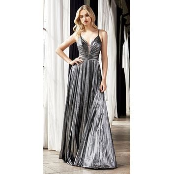 Ruched Bodice Metallic Long Prom Dress Dark Silver