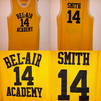 Vintage #14 Smith  XL Yellow Home Jersey Bel Air Academy Fresh Prince 90s Retro Dope