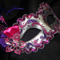 Purple and Hot Pink Masquerade Mask