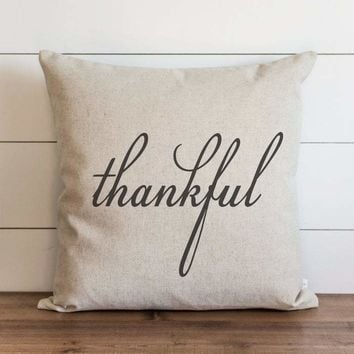 "Fall Pillow Cover // ""Thankful"""