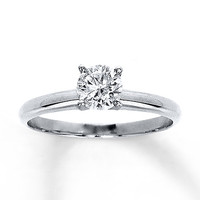 Diamond Solitaire Ring 3/4 ct Round-Cut 14K White Gold