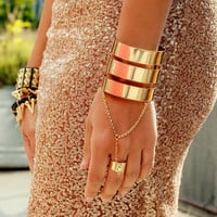Gold Triple Cuff With Ring | Haute1
