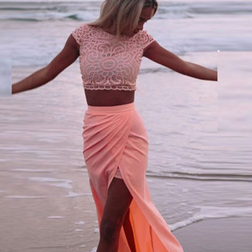 Chiffon High Waist Casual Beach Sexy Maxi Long dresses Two piece Suit