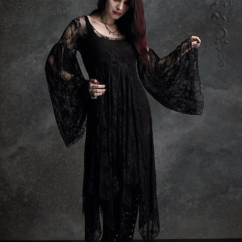 Phaedra Fairy Gown in Black Lace - Custom Elegant Gothic Clothing and Dark Romantic Couture