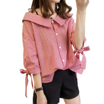 2017 Fashion Peter Pan Collar Loose Plaid Blouse Bow Three Quarter Sleeve Blouse Women Spring and Autumn Casual Shirt Women Tops