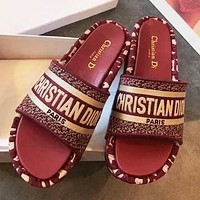Dior New Sponge shoes slippers red