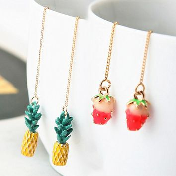 Hot Design Cute Fruit Stud Earrings Strawberry Pineapple Tassel Earrings Long Ear Line For Women Friend Gift Minimalist Jewelry