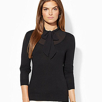 Lauren Ralph Lauren Self-Tie-Neck Sweater - Modern Pink