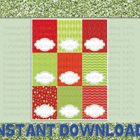 Merry Christmas! - Blank Food Tent Cards - PDF - INSTANT Download 12 per Sheet - Printable Holiday Party Supplies