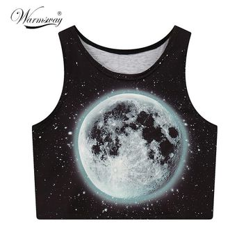 Moon Printed Summer Fashion Women Crop Tops Sexy Tank Tops Vintage Tops Girls Shirt Personality Cropped tumblr A-008
