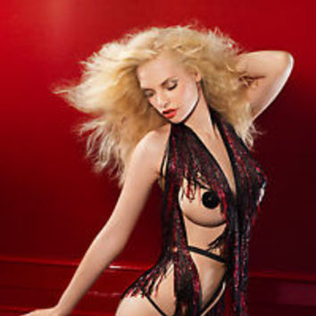 Agent Provocateur Soiree INGA Ouvert Playsuit S/M NWT Black & Red Orig. $3900