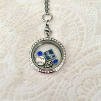 Dodgers Baseball large 30mm stainless steel memory locket