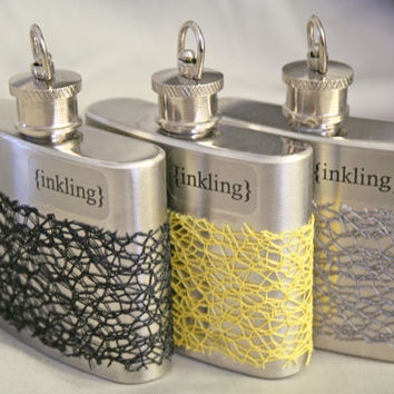 Resplendent - pure perfume & essential oils, alcohol free, 2 oz steel flask wrapped in mesh lace. Long lasting oil fragrance. Handmade.