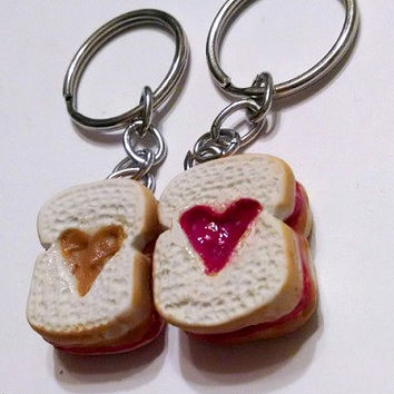 Peanut Butter & Jelly Sandwiches With Hearts Key Chains, Polymer Clay Food, BFF