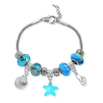 Bria Lou Silver Flashed Crystal amp Glass Bead Charm Snake Chain Bracelet 75+3quot Extender All Styles