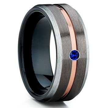 Blue Sapphire Tungsten Ring - Gunmetal - Black Tungsten Wedding Band - Brush