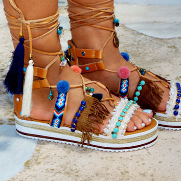 "Pom Pom Sandals,  friendship sandals, Leather Sandals, Gladiator sandals, Greek Sandals, ""DELFIS"" Colorful Sandals, beaded sandals, boho"
