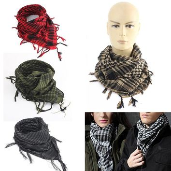 New 100x100cm Tactical Outdoor Arab Desert Shemagh Scarf Polyester Plaid Printed Scarf Wraps With Tassel Fashion For Men Women