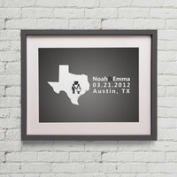 State of Texas Customized Wedding, Proposal, Heart, Love, Art Print, Home,  Dorm Decor, Work Decor, Newlyweds 10x8 inches