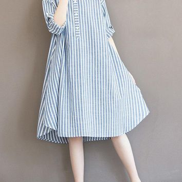 Casual Women Vertical Striped Drawstring A Line Long Sleeve Loose Dress