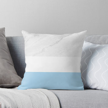 'Marble White Blue Stripes' Throw Pillow by by-jwp