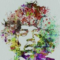 New Hendrix Watercolor by Naxart Fine Rock Music Art Print Home Decor 738842