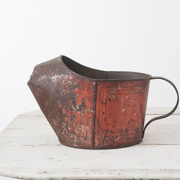 Antique Tole Pitcher - Painted Tinware Watering Can Red Paint 19th Century Vintage Primitive Americana Rustic Farmhouse Shabby Distressed