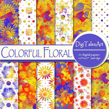 """Watercolor flower digital paper """"Colorful Floral"""", scrapbook, watercolor background floral clipart pattern invitations cards red blue yellow"""