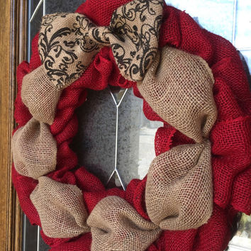 Red Burlap Wreath, Chevron Burlap Bow, Christmas Wreath, Year Round Wreath, Door Decor