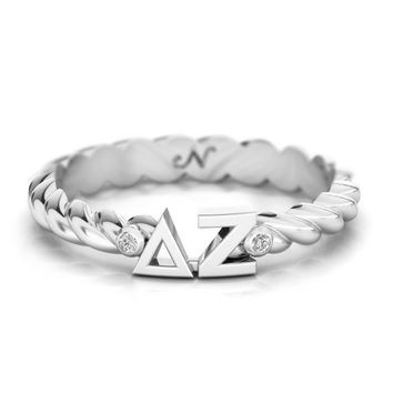 Delta Zeta Silver Pavé Twist Letter Ring, available in any sorority, other metals
