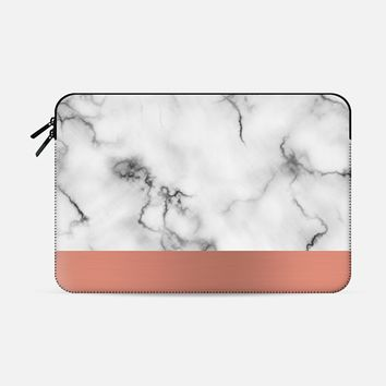 "Marble & copper Macbook Pro 15"" sleeve by Will Wild 