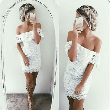 Lace Women's Fashion Summer Sexy One Piece Dress [9863653455]