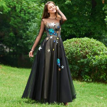 Appliques evening dress black full sleeves floor length a line gown women scoop custom formal evening dresses
