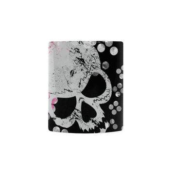 flowers and skulls Floral gothic Pattern White Mug(11OZ)