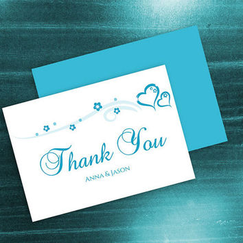 DIY Printable Wedding Thank You Card Template | Editable MS Word file | 3.5 x 5 | Instant Download | Turquoise Blue Heart Romance