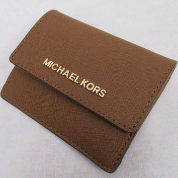 NWT MICHAEL KORS LEATHER JET SET TRAVEL CARD CASE ID KEY HOLDER IN LUGGAGE
