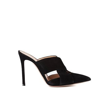 Gianvito Rossi 105 Black Suede Criss Cross Pointed Mules