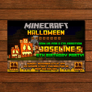 Minecraft Halloween Design Invitation