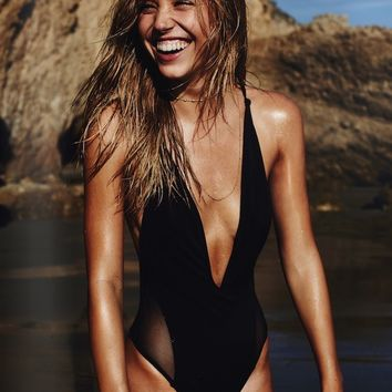 Black Splicing Gauze One-Piece Swimsuit Bikini