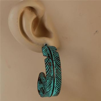 "1.60"" patina half hoop leaf boho pierced earrings"