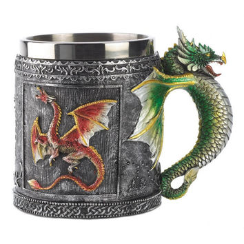 Resin 3D Dragon Mug Tankard Striking Skull Warrior Tankard Viking Skull Beer Mug Gothic Helmet Drinkware Vessel Drop-Shipping