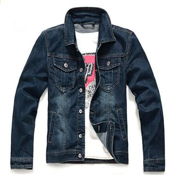 Men's Classic Washed Lapel Slim Fit Denim Jeans Jacket